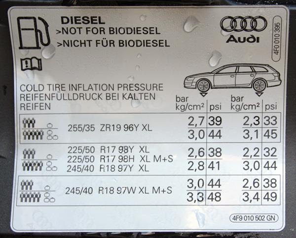 Audi A6 A7 Klub Polska A6 C6 Prawidlowe Cisnienie W Oponach 245 35 19 Cali